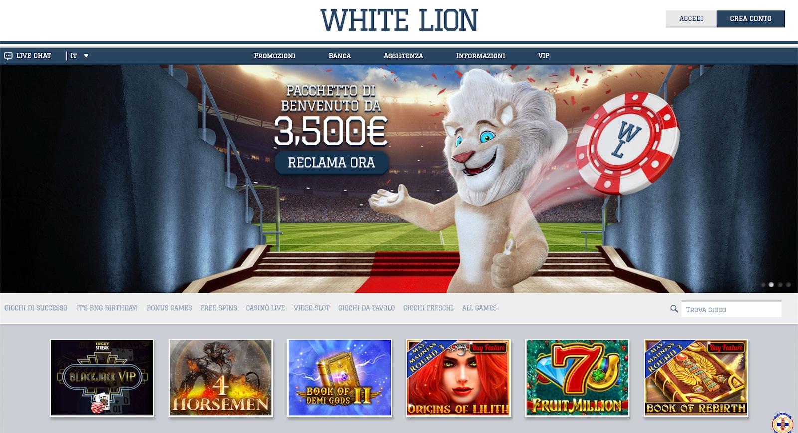 come vincere soldi veri sulla scommessa del white lion bet