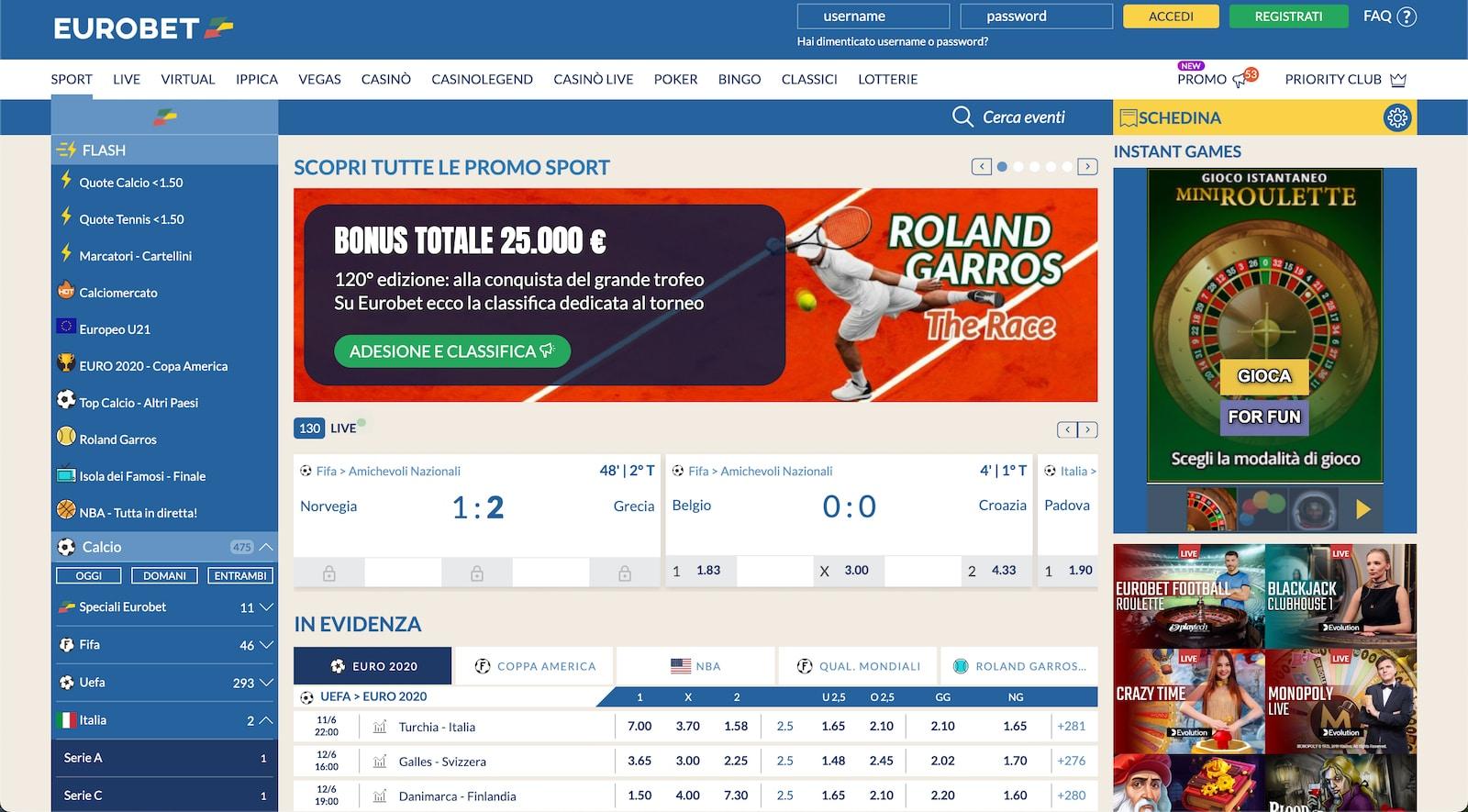 vantaggi delle scommesse sportive live su eurobet italia